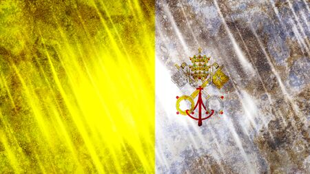 Vatican City Flag with grunge texture.