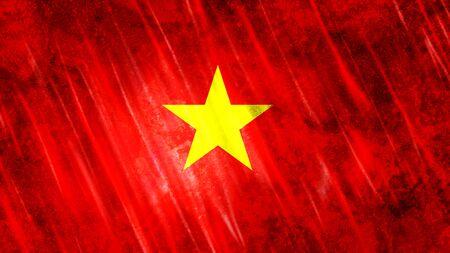 Vietnam Flag with grunge texture.