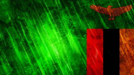 Zambia Flag with grunge texture. Zdjęcie Seryjne