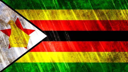 Zimbabwe Flag with grunge texture.