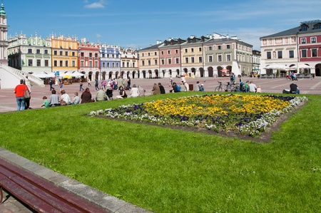 View of Polish beauty renaaissance Old town Zamosc