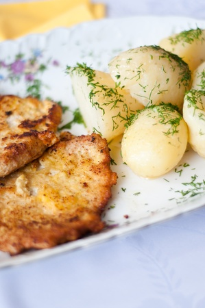 Polish dinner young potato with meat Stock Photo