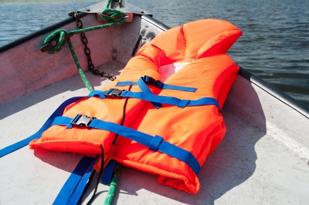 life protection: Life jacket on boat background