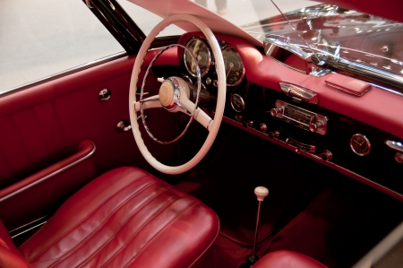 Old red interior of classic car