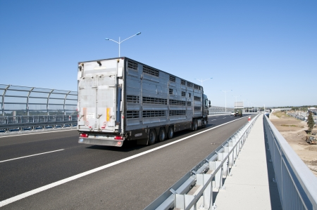 truck on highway to speed drive photo