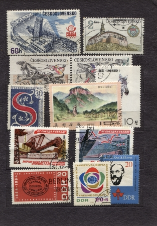 Old philatelist vintage comunist stamp
