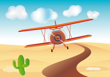 avion caricatura: dibujos animados mosca plano en el desierto
