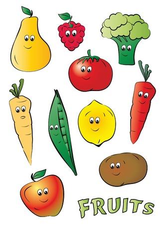 kiddy: fun kiddy fruits cartoon on white