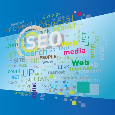 seo flying words on blue
