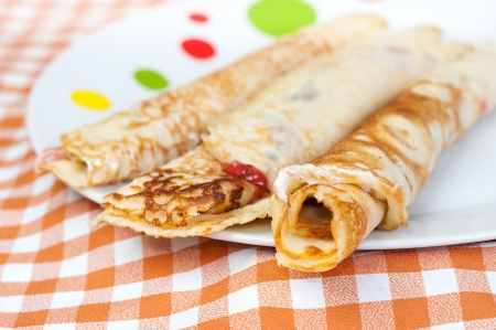 Delicious traditional pancake composition Stock Photo