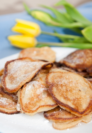 Hmemade delicious pancakes with apples