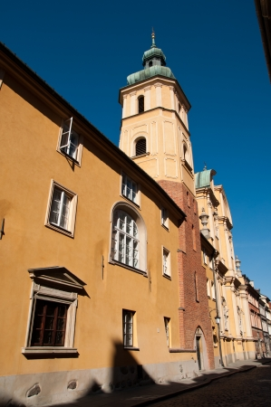 Small street on the old town of Warsaw photo