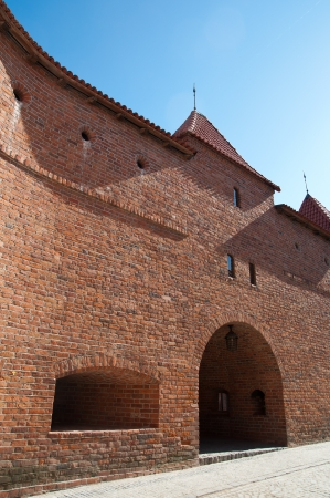 warszawa: Part of the wall of the old building called the Barbican in Warsaw