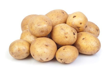 young potatoes on white Stock Photo - 19354873