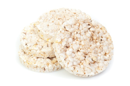 puffed: puffed rice snack on white background