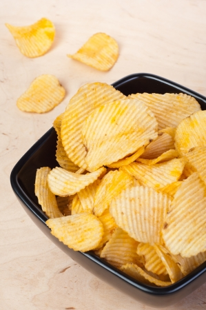 Bowl of potato chips in the composition