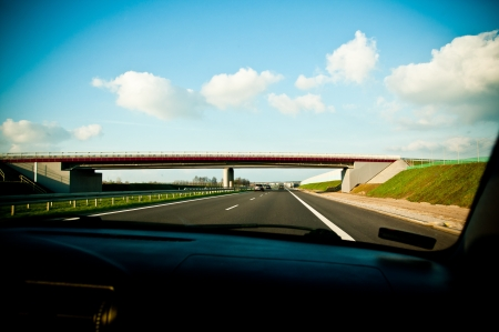 view from the inside of the car on the motorway Stock Photo