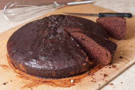 Polish honey cake of the cocoa about the name of deeply tanned man in the kitchen photo