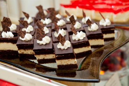 Much Chocolate dessert with cream - catering