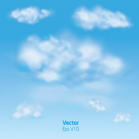 Blue sky with clouds and flashs - vector illustration Stock Vector - 23292173