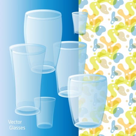 vector glasses for drinking against the blue and colourful background