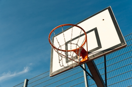 Basketball board on blue sky Stock Photo