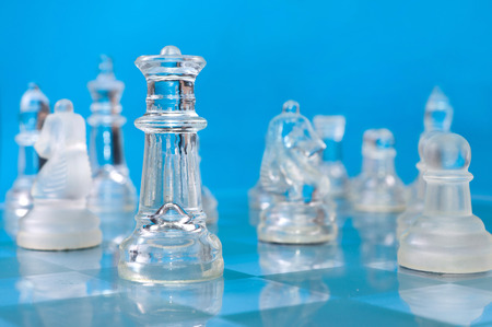 glass chess on the blue wall  photo