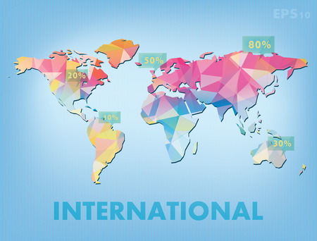 Colour abstract map of the world in the form infographicss