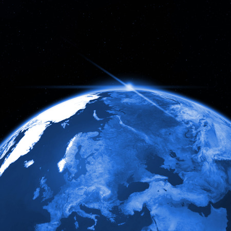 Our planet abstract view from the outer space in the blue key