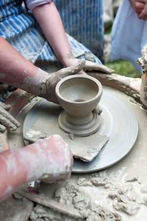 Pottery - formation process of the clay dish with traditional method as the history lesson