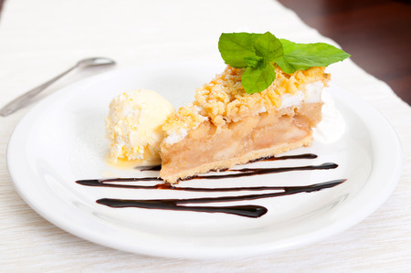 Apple Pie Dessert with Ice Cream and chocolate cream