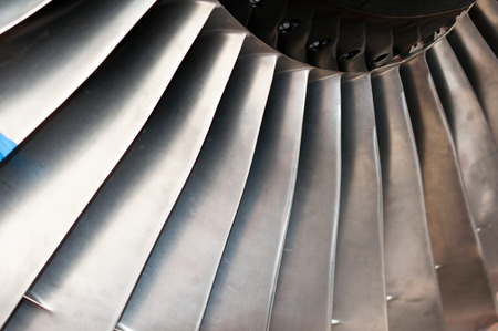Turbofan on jet engine close up shoot photo