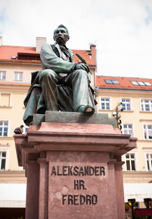 aleksander: Aleksander Fredro monument - famous polish writer - Wroclaw - old town Editorial