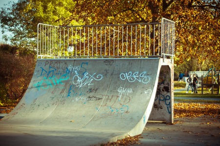 Skate ramp in climate autumn light Stock Photo