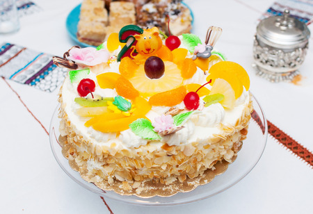 Cream cake with fruits in a natural combination Stock Photo