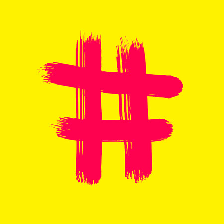 Red Hash sign on yellow - Vector Art handmade brush. Illustration