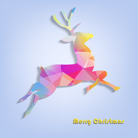 ful: Abstract ful colorfestive reindeer in the geometric style - vector Illustration