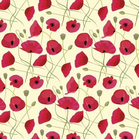 allover: Red poppy flowers Spring delicate background Illustration