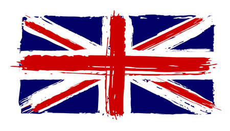 Flag of Great Britain in the painterly style the grunge - vector