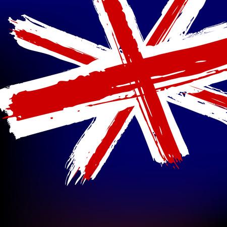 bandiera inglese: Bandiera della Gran Bretagna in stile pittorico il grunge - vettore