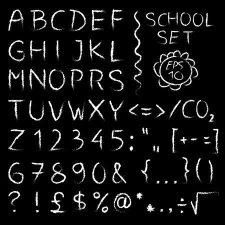 Hand wright school alphabet on black