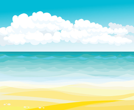 sea landscape: Drawing beach and sea landscape with clouds