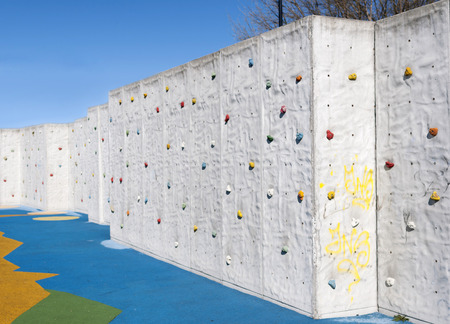 Artificial Climbing wall in natural light photo