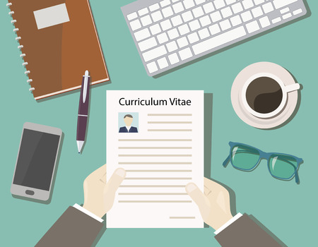 concept van recruitment met uitzicht cv van de top - bureau chief Stock Illustratie