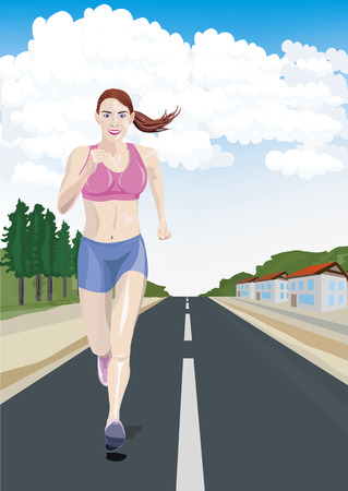 cool down: Muchacha fresca corriendo por la calle - vector