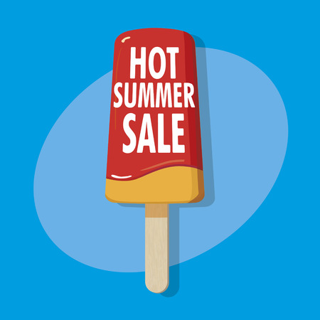 ice on a stick - hot summer sale illustration