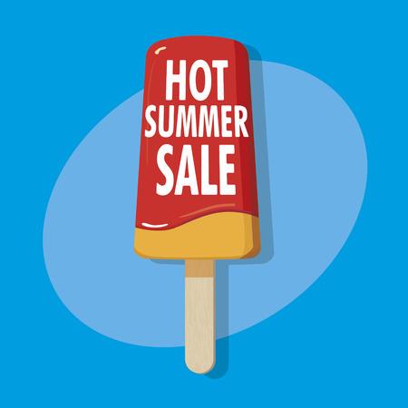 ice on a stick - hot summer sale illustration