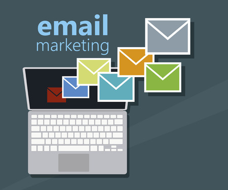 ultrabook: Email marketing and many envelopes in computer - vector