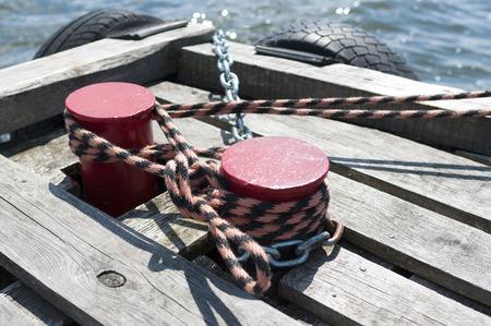 hawser: hawser - A device for mooring boats