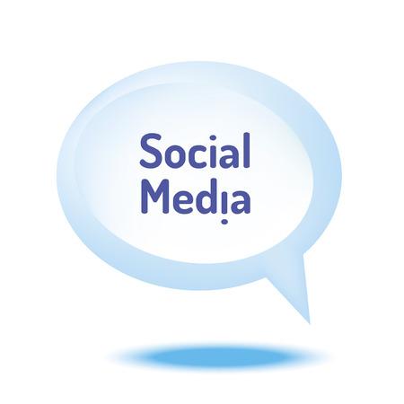 keywords bubble: Blue Speech Bubble with text social media